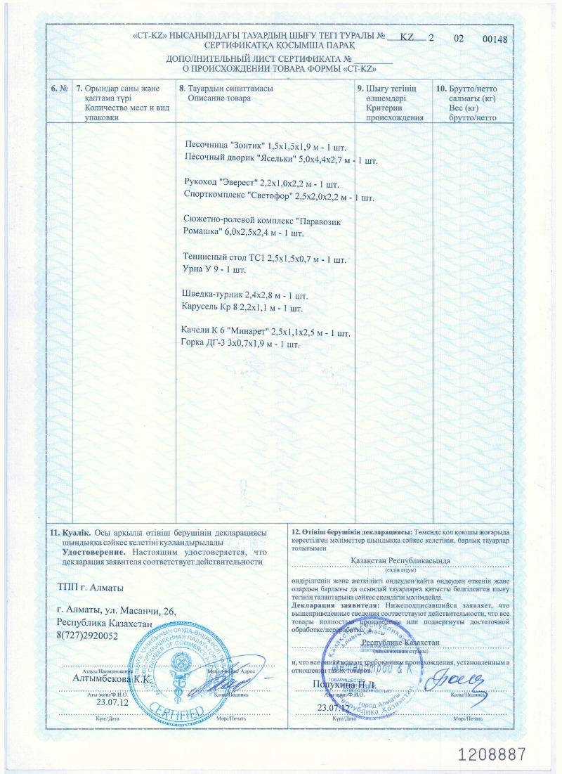 Дополнительный лист сертификата о происхождении товара формы «CT-KZ»